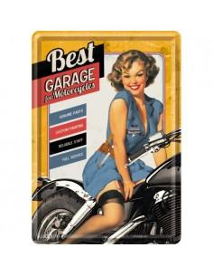 Carte postala metalica Best Garage Yellow 10x14cm